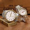 Wlisth alta calidad parejas amantes de acero inoxidable relojes de las mujeres reloj de señoras par reloj de los hombres relojes