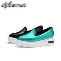 Stylesowner Korean Style Fashion Design Flat Casual Shoes Shallow Slip On Green And Gold Color Large