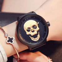 GIMTO Big Dial Gold Black Skull Women Watches Luxury Brand Steel Male Female Clock Vintage Ladies