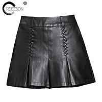 ORDEESON Saia Plissada A Line Short Pants Leather Skirt Plus Size Faux Leather Winter Black High Waist Skirts Womens XXXL 2017