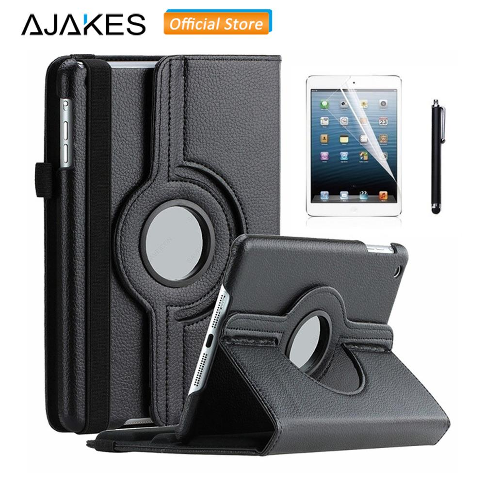 AJAKES Leather Flip Case For iPad Air 1st 360 Rotating Stand PU Leather Smart Cover w/Auto Wake Sleep w/Screen Protector Film