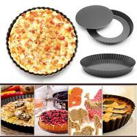 9 дюймов Черное антипригарное блюдо кухонный торт гофрированная печь для приготовления пиццы круглое покрытие для выпечки торта