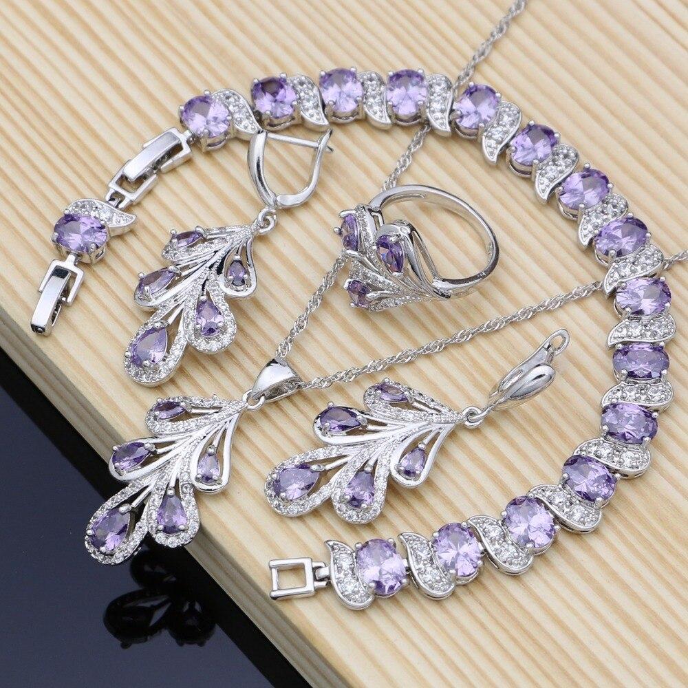 Natürliche 925 Silber Braut Schmuck Sets Lila Cz Kostüm Schmuck Kits Für Frauen Ohrringe/anhänger/ringe/armband /halskette Set Brautschmuck Sets