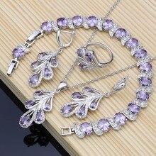 купить Natural 925 Silver Bridal Jewelry Sets Purple CZ Costume Jewelry Kits For Women Earrings/Pendant/Rings/Bracelet/Necklace Set по цене 371.57 рублей