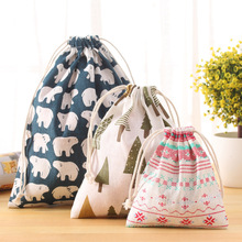 Cotton Fabric Travel Drawstring Tote Home Storage Bag For Underwear Toy Cosmetic Easy Storage Organizer Bag S/M/L