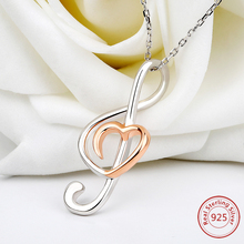 hot deal buy 2018 new 925 sterling silver jewelry chain pendant  necklace fashion jewelry i love music necklaces & pendants for fine jewelry