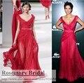 Customize F479 Frete Grátis V Neck Lace Chiffon Celebridade do Tapete Vermelho Vestidos Vermelho Escuro