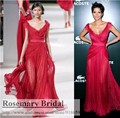 F479 Customize Free Shipping V Neck Lace Chiffon Dark Red Red Carpet Celebrity Dresses