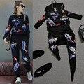 2016 Marca Pista De Malha Calça Se Adapte Às Mulheres de Peixe de Alta Qualidade Bordados Sequines Blusas E Calças Conjuntos de Roupas Casuais NS552