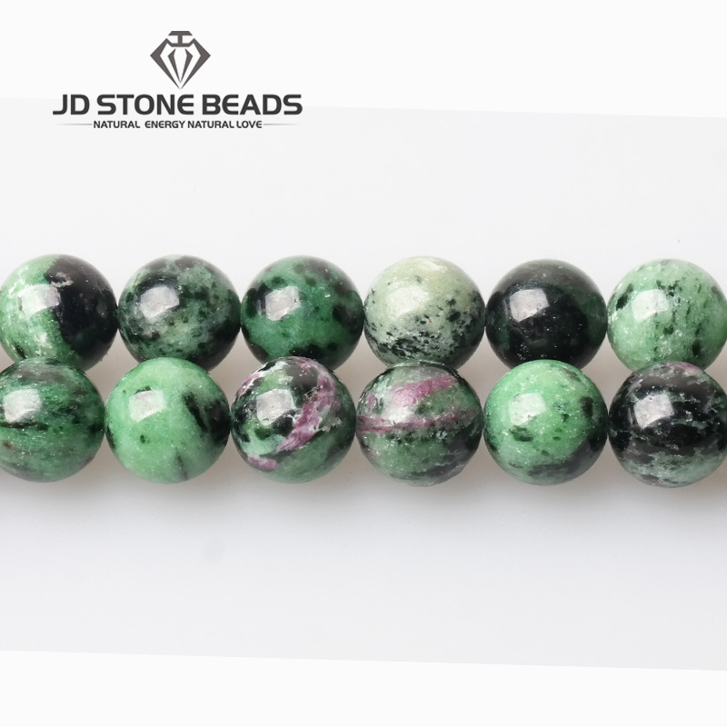 4-12mm Natural Red Green Epidote Zoisite Stone Beads4 6 8 10 12 14mm For Fashion Jewelry Bracelet Craft Making 15