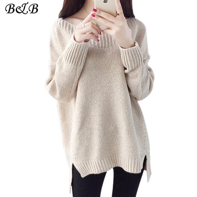 2016 Nova Outono Inverno Mulher Camisolas O Pescoço quente Malha Camisola Das Mulheres Pullover Puxar Femme Sweter Solto Pullovers 4 cores