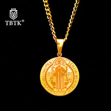 TBTK Benedictine Order Exorcism Nursia Pendant Stainless Steel Golden Necklace Cuban Chain Round Hiphop Pendant Trendy Jewelry(China)