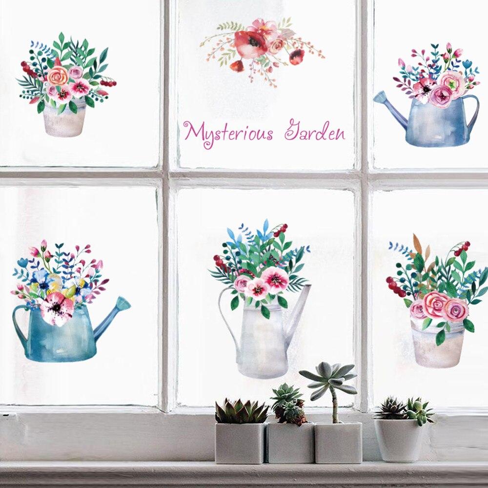 DIY Таинственный Сад Стекло окна ТВ Задний план украшения стены съемные нетоксичные экологических Водонепроницаемый 50*70 см