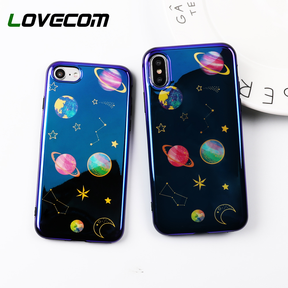 LOVECOM Blu-Ray Planet Milky Way Graphic Celular Phone Cases For iPhone 6 6S 7 8 Plus X Glossy Soft IMD Phone Back Cover Bags
