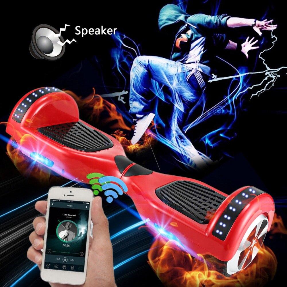 6.5 ''Deux scooter à roues eléctriques Bluetooth Hoverboard Adulte Planche À Roulettes Auto Équilibrage scooter intelligent avec Haut-Parleur led hover bord