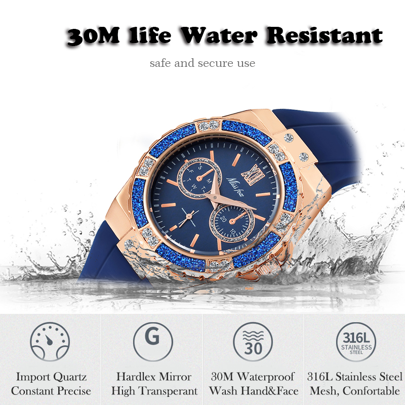 MISSFOX Women's Watches Chronograph Rose Gold Sport Watch Ladies Diamond Blue Rubber Band Xfcs Analog Female Quartz Wristwatch 4