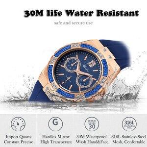Image 4 - MISSFOX Relógios Chronograph Rose Gold Relógio Do Esporte Das Senhoras das Mulheres Diamante Azul Xfcs Feminino Analógico Quartz relógio de Pulso da Faixa de Borracha