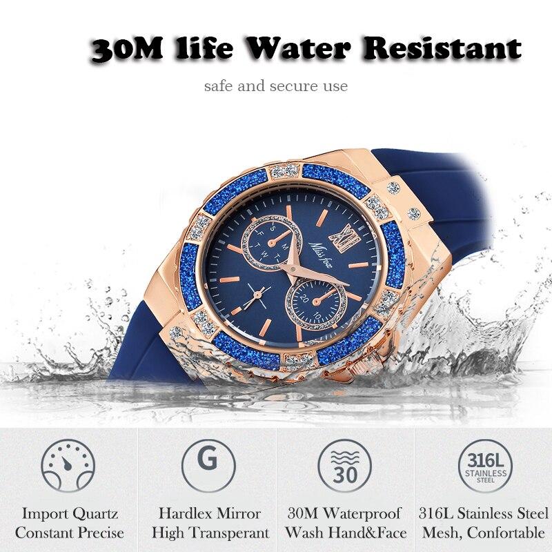 MISSFOX Women's Watches Chronograph Rose Gold Sport Watch Ladies Diamond Blue Rubber Band Xfcs Analog Female Quartz Wristwatch 8