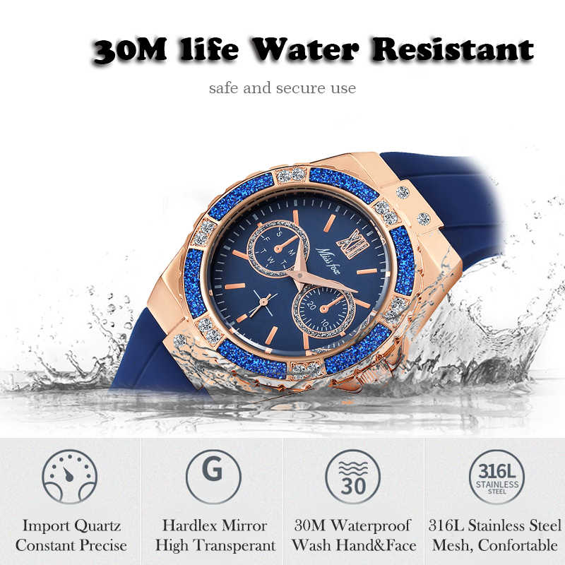 MissFox часы женские хронограф розовое золото спортивные часы женские Алмазные синие резиновые часы Xfcs Аналоговые Женские кварцевые наручные часы