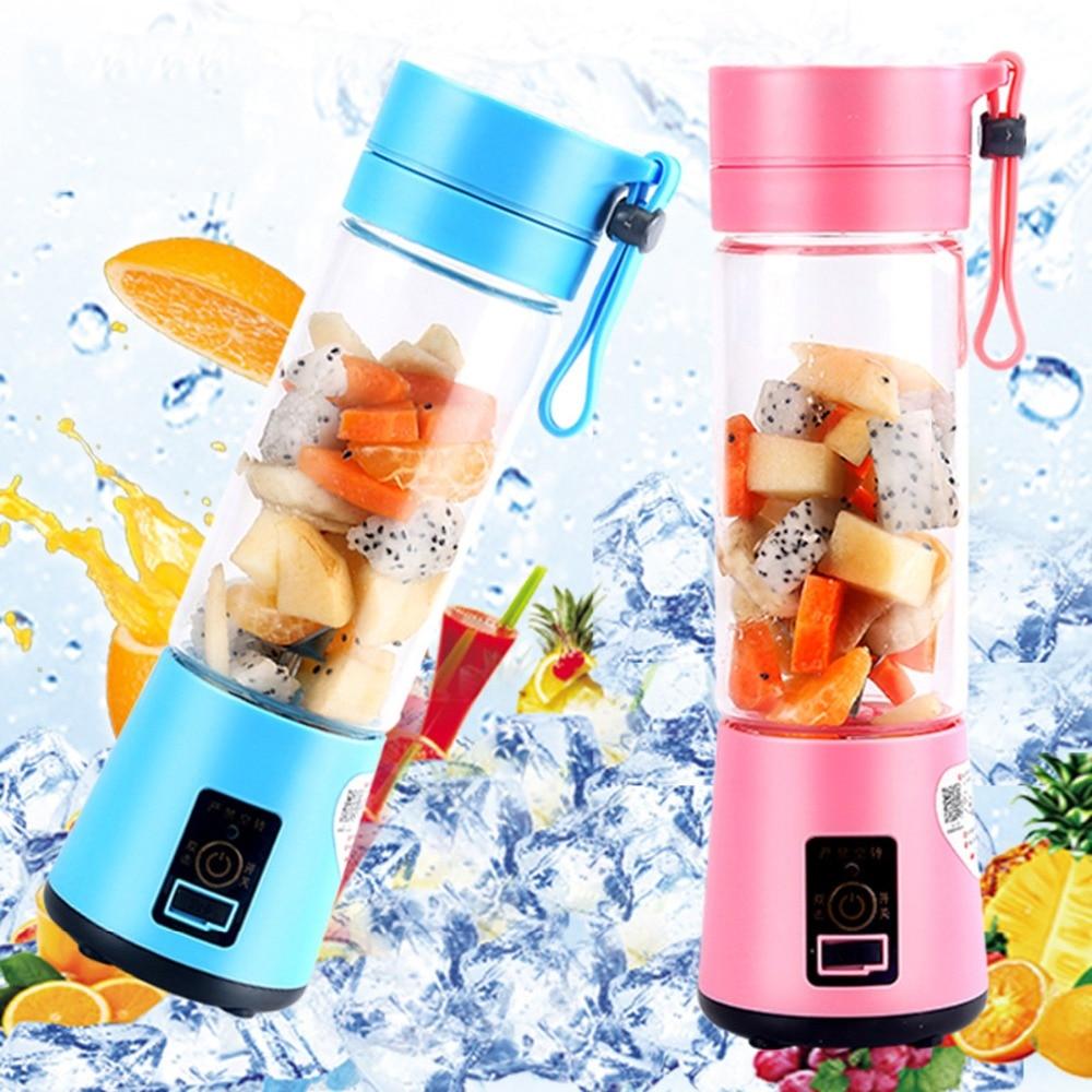 380 Ml recargable USB mezclador 6 cuchillas Juicer botella jugo Citrus limón verduras batido de frutas escariadores