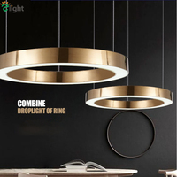 Modern Lustre Plate Gold Round Circle Led Pendant Lights Metal Acrylic Mask Luminaria Pendant Lamp Suspension Lamp Fixtures