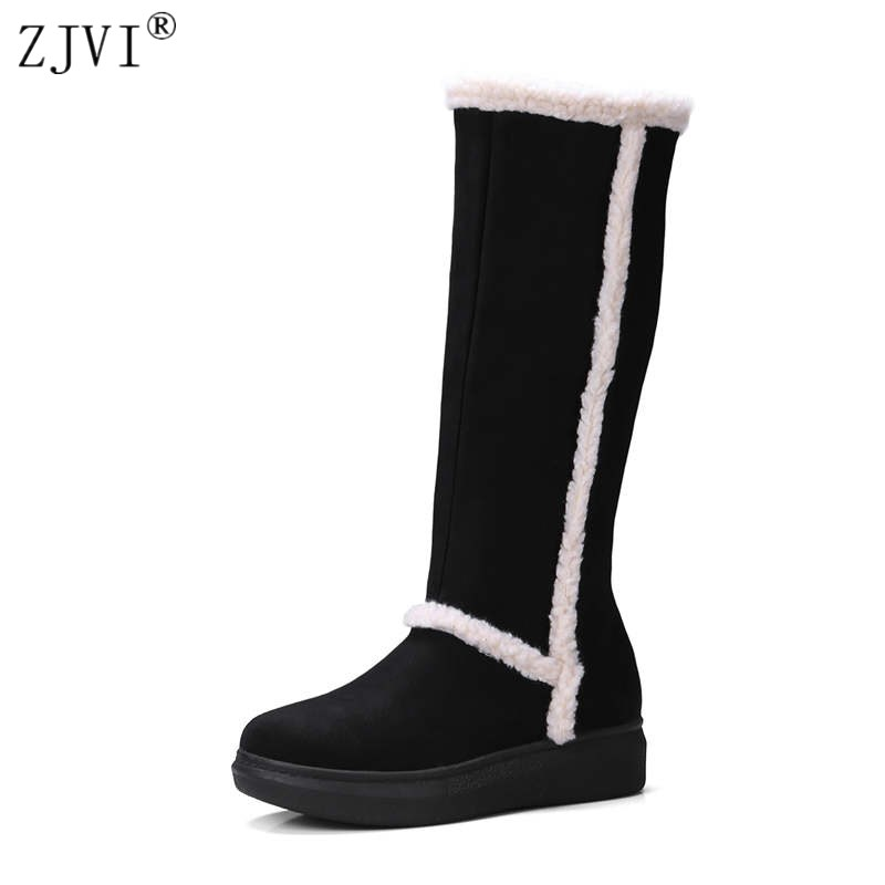 ZJVI women nubuck knee high boots 2018 woman thigh high winter snow boots women platform flats shoes ladies autumn suede boots