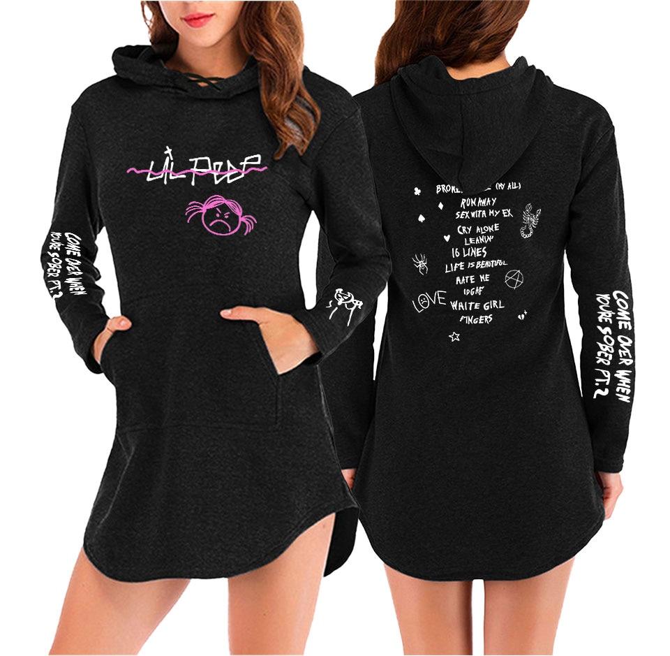 Frdun TOMMY BTS Lil Peep Print été décontracté Harajuku femmes été/printemps robe vêtements 2019 offre spéciale Kpops robe grande taille XXL