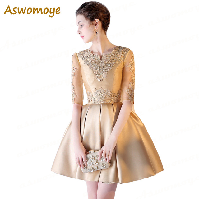 Aswomoye Women Elegant Gold Short Evening Dress 2018 New Stylish Appliques  O-Neck Wedding Party Dress Half Sleeve robe de soiree e67da13a848f