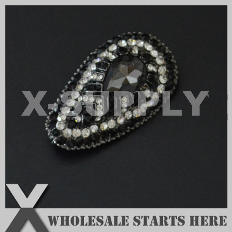 25x42mm Black Metal Rhinestone Brooch with Regular Pin and Hook Backing,Used for Party Evening Wedding Dress,Decorations