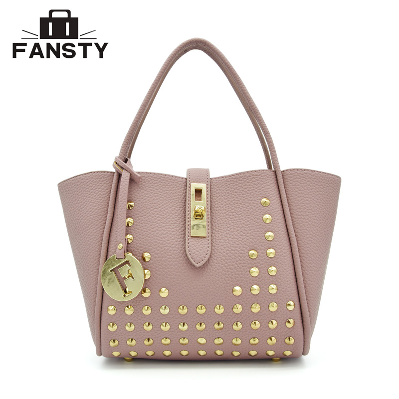 Fashion Women Messenger Bags Design PU Leather Handbag and Purse Litchi  Rivet Ladies Shoulder Bag Trapeze Women Cross Body Bags