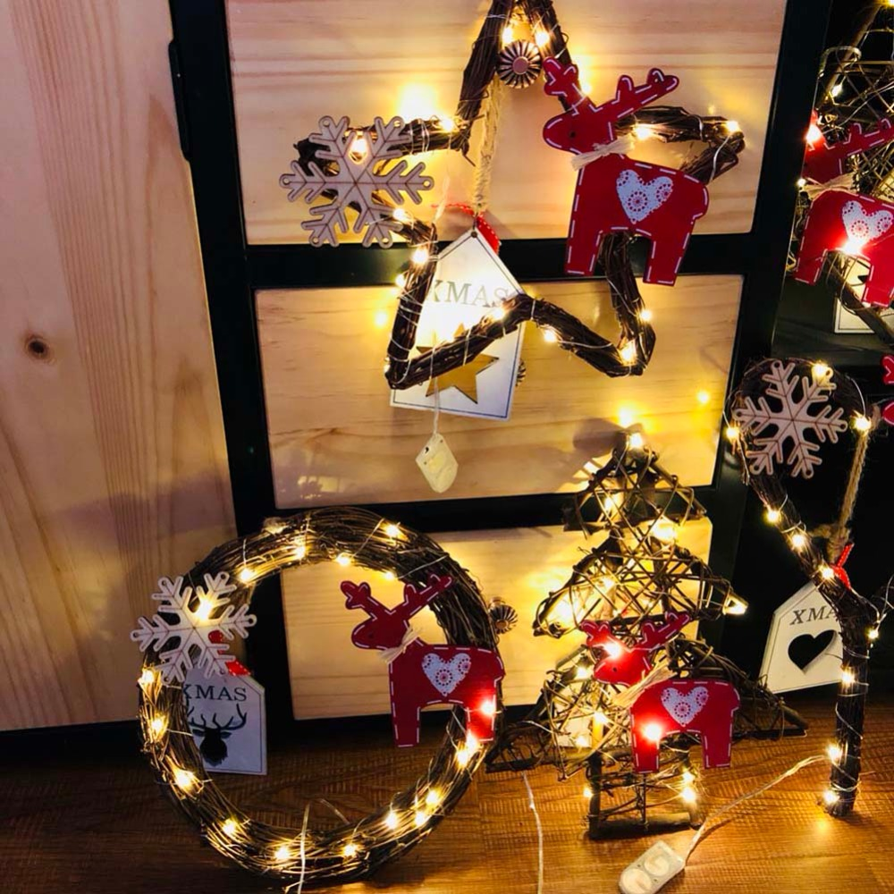 20led Light Christmas Handmade DIY Vines Rattan Light String Christmas Stars / Round / Heart / Tree Shape With Lights Decoration
