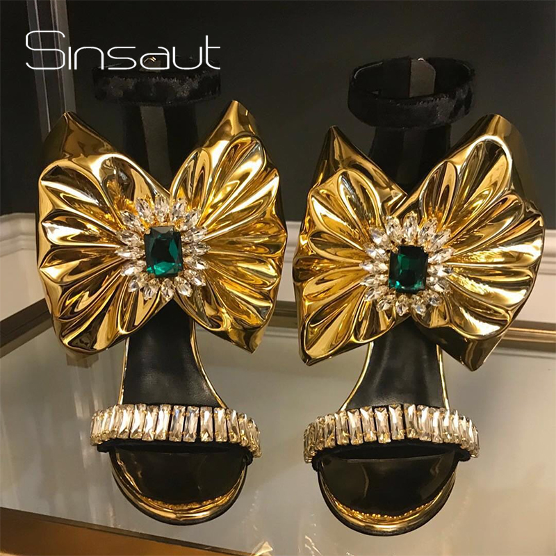 Sinsaut Summer Shoes Women Wedges Shoes for Women Trending Strange High Heels Platform Sandals with Gold Bow and Crystals Sandal