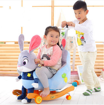 Children shake Ma Baobao Trojan baby rocking chair baby stroller baby birthday gift with music