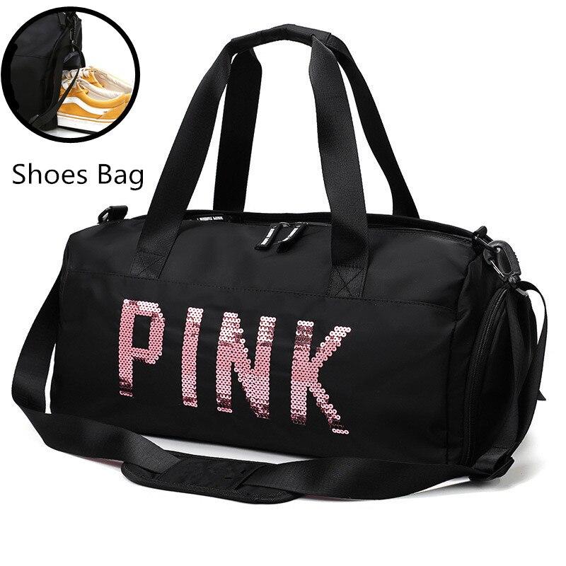 2020 Newest Design Sequins PINK Letters Gym Fitness Sports Bag Shoulder Crossbody Bag Women Tote Handbag Travel Duffel Bolsa