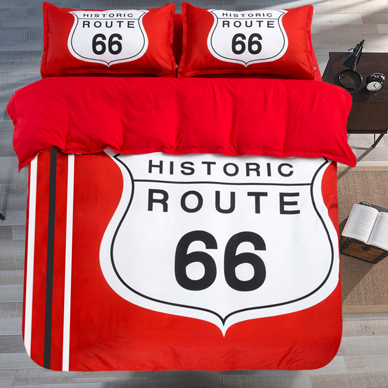 ᑎ New 3 4pcs Red ୧ʕ ʔ୨ Historic Historic Route 66 Bedding