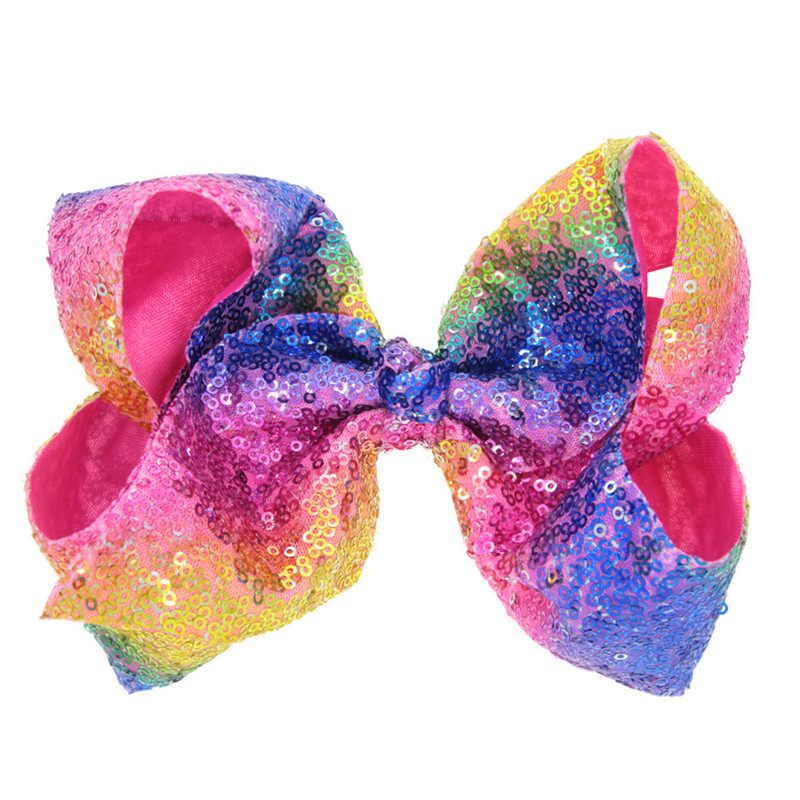 """8"""" Sequin Rainbow Party Bow With Hair Clip For Girls Kids Handmade Boutique Knot Jumbo Hair Bow Hairgrips Hair Accessories"""