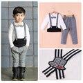 YN-789 autumn children boys clothing sets, gentleman mustache T shirt + plaid pant, 2pcs set