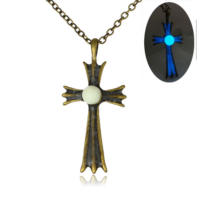Vintage bronze antique chain glowing cross pendant necklaces for vintage bronze antique chain glowing cross pendant necklaces for men fashion glow in the dark luminous mozeypictures Images
