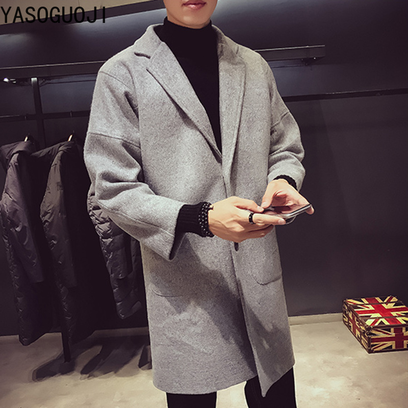 Lana Collare Uomini Cappotto Nuovi Solido Gray Lungo Pulsante Di Degli 2019  L062 Singolo Casual Turn Stile Inverno ... f3dc5654bed