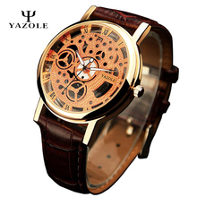 Relogio Masculino YAZOLE Skeleton Mens Watches 2016 Top Brand Luxury Famous gold Wristwatch Men s Clock