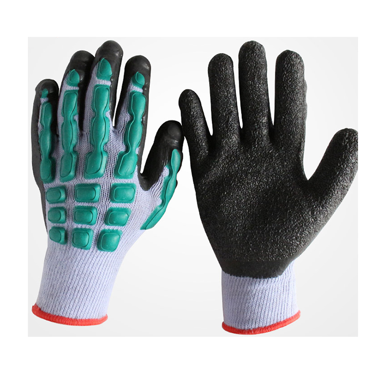 1 Pair Anti Vibration Gloves Coating Garden Gloves Rubber Green Mechanics Work Shock-proof Gloves 24cm Size L for Power Tools 2017 nmsafety anti vibration working gloves vibration and shock gloves anti impact mechanics workgloves