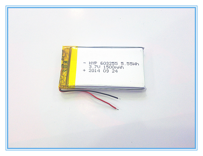 Free shipping 3.7V,1500mAH,[603255] PLIB; polymer lithium ion / Li-ion battery for dvr,GPS,mp3,mp4,cell phone,speaker