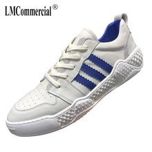 Spring Summer Genuine Leather White Shoes Mens cowhide Leisure shoes men designer  breathable sneakers British