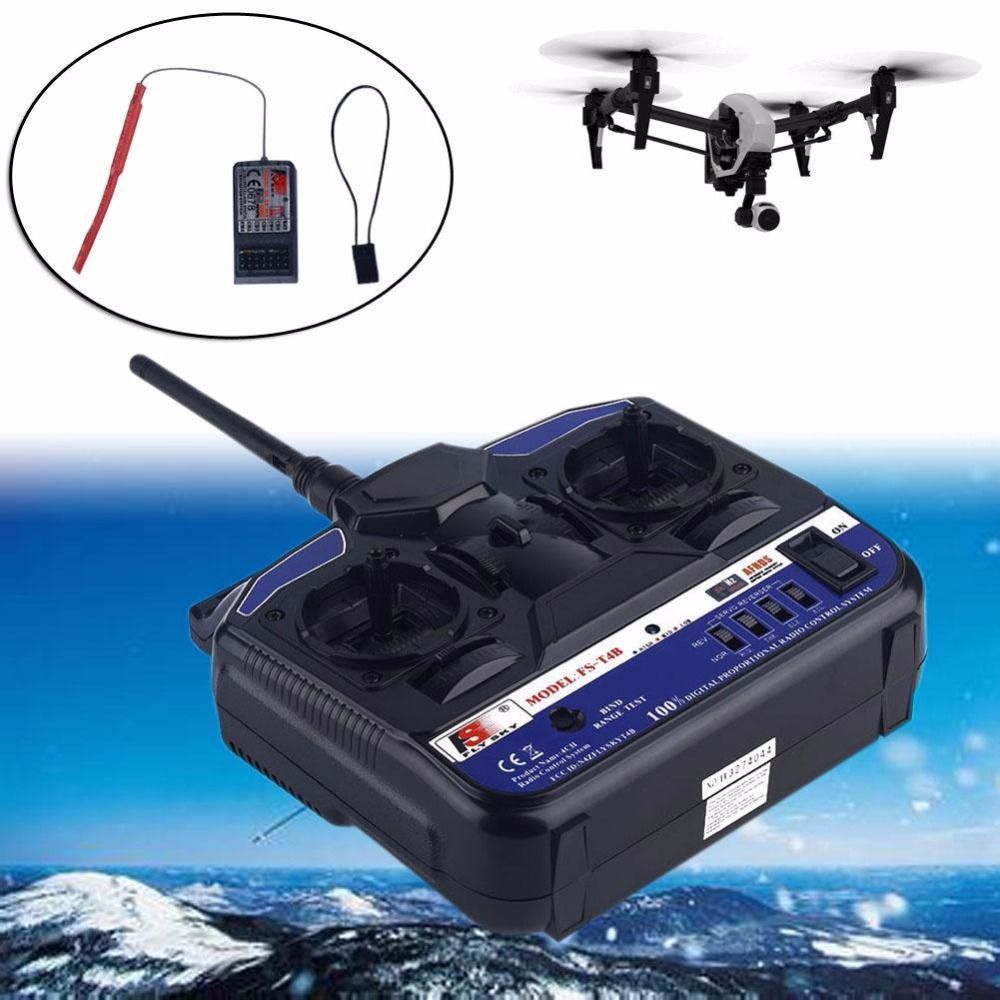 ФОТО 4 Channels 2.4GHz Remote Controller & Receiver For FlySky FS-T4B RC Airplane