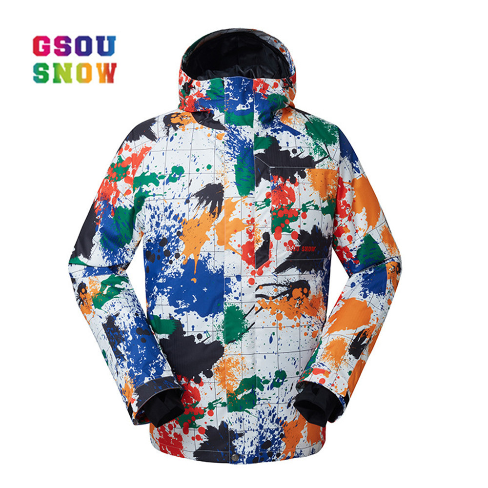 GSOU SNOW New Men Ski Jackets Windproof Snowboard Jacket Men Outdoor Warmth Winter Clothing Breathable Sportswear Waterproof gsou snow winter women ski suit warmth outdoor snowboard jacket waterproof windproof breathable lady sports jackets plus size