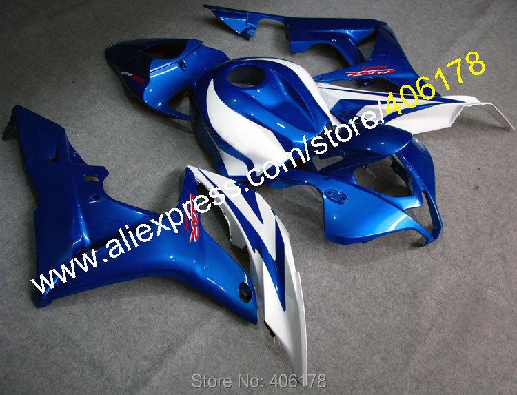 Hot Sales,Full Fairings Set For Honda CBR600RR 07 08 F5 CBR600 2007 2008 Blue White aftermarket fairing kit (Injection molding)