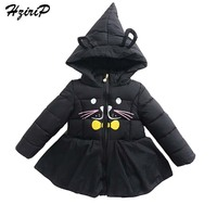 HziriP New 2017 Winter Baby Jackets Coat Fashion Cartoon Cat Hooded Down Jacket Children Warm Outwear Kids Girls Clothes 5Colors