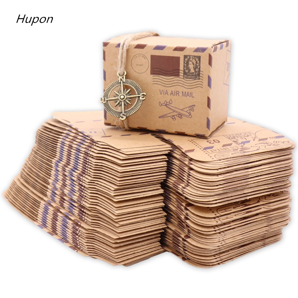 100/50pcs Stamp Design Kraft Candy Boxes Vintage Wedding Favors Box Travel Theme Compass/Airplane Gift Wedding Party Decoration