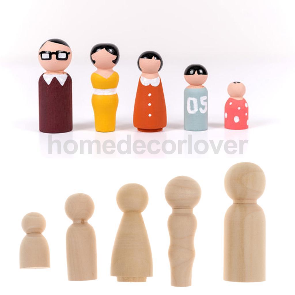 30 Pieces Plain Wooden Peg Dolls Wooden Painting Cake Topper Craft Decor