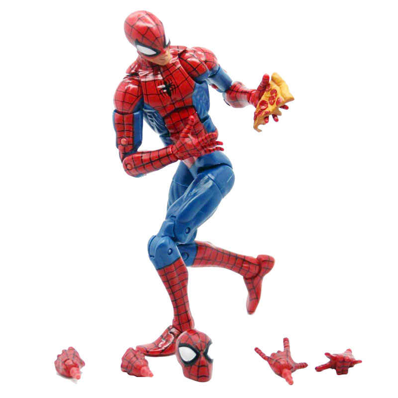Pizza spiderman marvel lendas série infinita brinquedo quente homem aranha super herói figura de ação modelo para o natal presente do ano novo